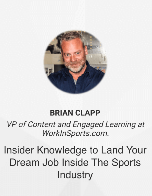 How to land your dream job in the sports industry - Brian Clapp